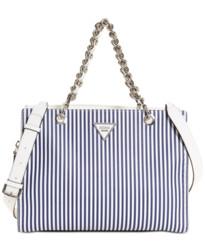 GUESS Sawyer Medium Satchel Blue Stripe EpK0lNQ