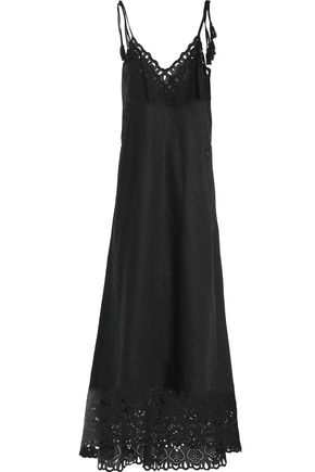 Theory Floral Embroidered Cotton And Linen Blend Maxi Dress Black 5IT7ZAJ9o