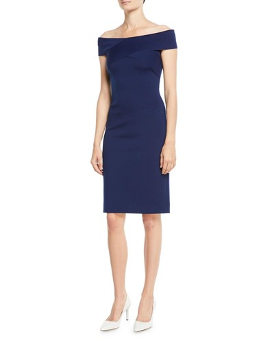 The Navy Dress Shoulder Knee Off Lauren Length Ralph Austine Sheath zwtOBO