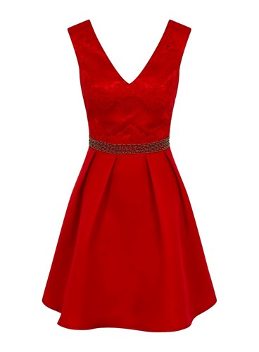 Dorothy Perkins Little Mistress Mini Lace Prom Dress Red Mby2BX8w