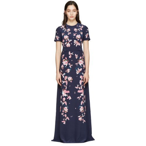 Erdem Navy Samira Dress 6A2An2YQ
