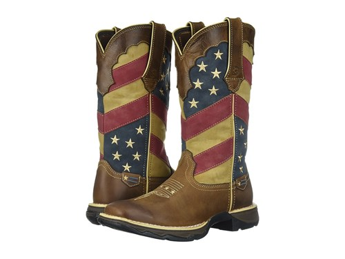Brown Rebel Cowboy 11 Boots Lady Patriotic Durango Flag gpIF8xqn