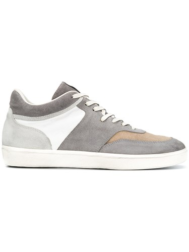 Leather Crown Panelled Sneakers Grey Dc1kg