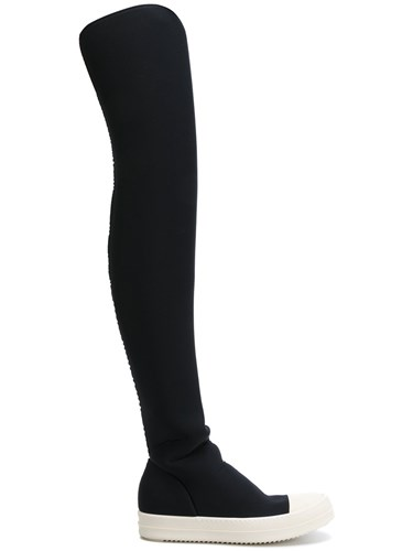 Rick Owens Drkshdw Stocking Sneak Boots Women Leather Polyester Rubber 39 Black LzltPch3N