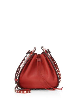 Leather Red Garavani Pink Rockstud Dark Peacock Grained Valentino Bucket Bag THqROxPx