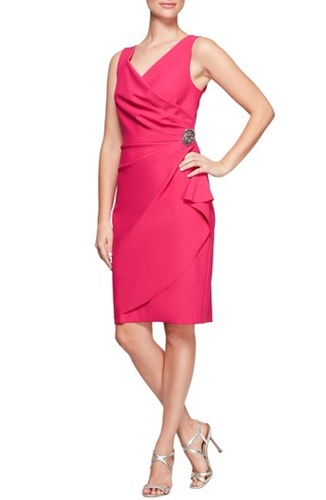 Dress Alex Side Evenings Fuchsia Ruched qpnSPFWZ