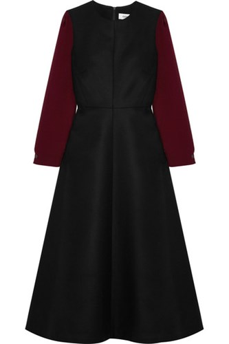 Cefinn Wool And Usd Two Dress Voile Midi Tone Blend Black rEA4Eq