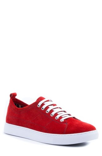 Robert Graham Ernesto Low Top Sneaker Red Suede PDXS1H