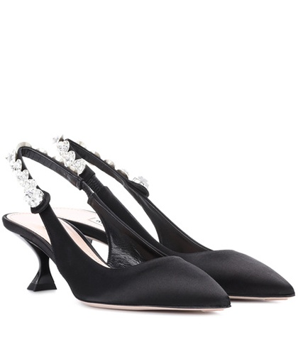 Miu Miu Satin Slingback Pumps Black MqeHxLg