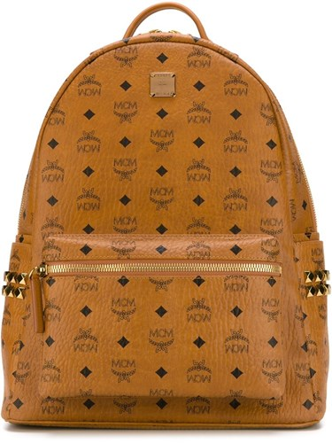 MCM Logo Print Backpack Brown zbzkr