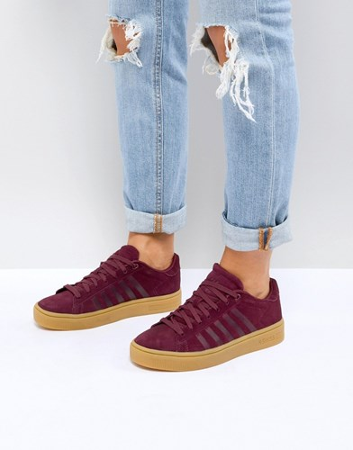 K-Swiss Court Frasco Trainers In Burgundy With Gum Sole Red IpOUhPyaN6
