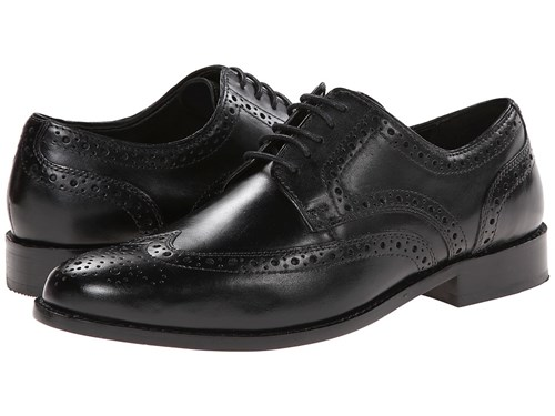 Nunn Bush Nelson Wing Tip Oxford Dress Casual Lace Up Black Dress Flat Shoes fvDgyaJxu