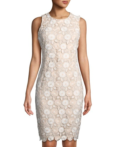 Iconic American Designer Floral Lace Sheath Dress Blush ZpjZI0