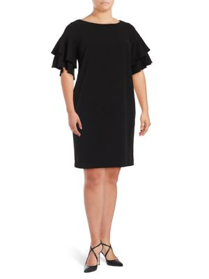 Calvin Klein Plus Ruffle Sleeve Sheath Dress Black JxES22