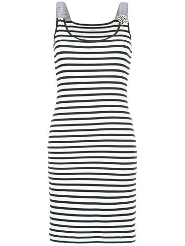 Marc Cain Striped Fitted Dress White k6mFa