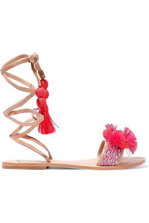 Schutz Lace Up Embellished Leather Sandals Multicolor a6CHypT5