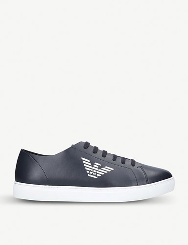 Giorgio Armani Logo Detail Leather Trainers Navy 9i1wsMANEZ
