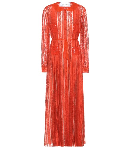 Valentino Sequin Embellished Lace Dress Red r11AHq