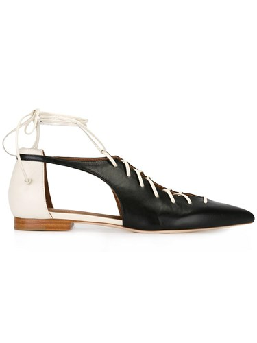 Malone Souliers Lace Up Ballerinas Leather Black JqGO2BnJOb