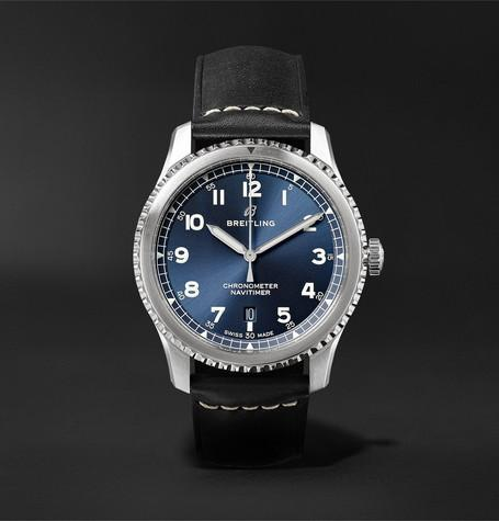 Navitimer 8 Automatic Chronometer 41Mm Steel And Leather Watch Blue