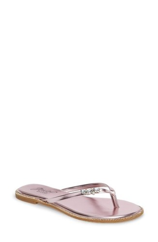 Jewel Badgley Mischka 'S Thalia Crystal Embellished Flip Flop Pale Pink Satin 8Lk5WMyLh