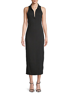 Cotton Perse Black Dress Collared James Midi qTf7ECw66
