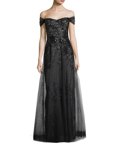 For Jon Teri Rickie Off Gown Freeman Black Sequin Underlay The Shoulder nRWwTxf