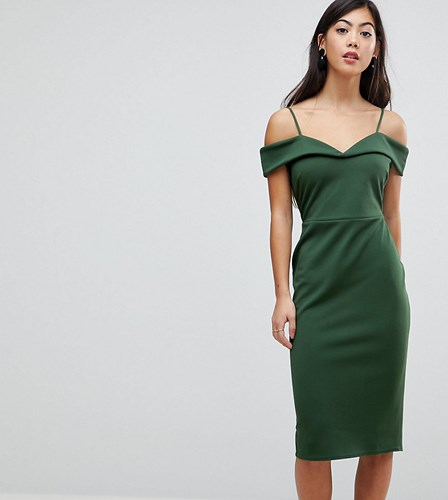 Asos Petite Scuba Strappy Bardot Pencil Midi Dress Forest Green yRDP4j