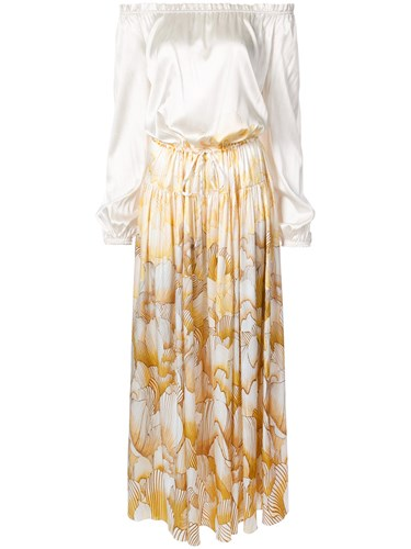 Adriana Iglesias Creek Maxi Dress Silk Spandex Elastane White nnDTE9n