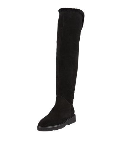 Aquatalia by Marvin K Kiara Over The Knee Suede Boot With Shearling Black uy04l