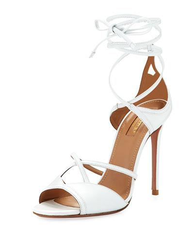 Aquazzura Nathalie 105Mm Crisscross Leather Sandal White eoWNNQ