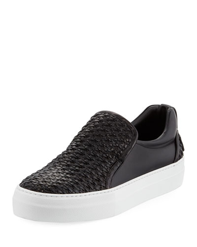 Buscemi 40Mm Men's Woven Leather Slip On Sneaker Black pvnCSmAyk3