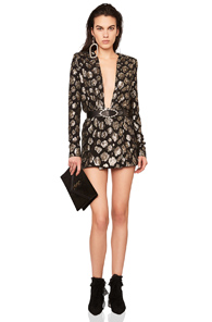 Saint Laurent Printed Plunging Long Sleeve Mini Dress In Abstract Black Metallics Abstract Black Metallics oZn9GV8