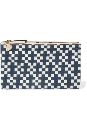 Clare Linen Navy V Canvas Printed Clutch rqxHwrvETO