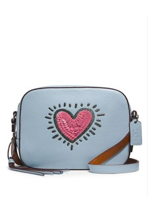 Coach Keith Haring Sequin Heart Leather Camera Bag Ice Blue YvznquBSVB