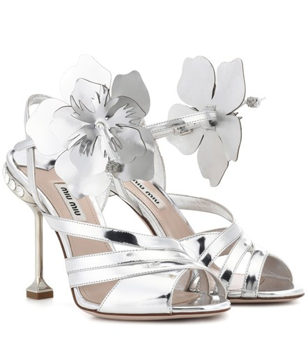 Miu Miu Embellished Leather Sandals Silver hlsPYnHTg