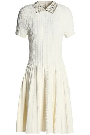 Cable Leather Trimmed Dress Pleated Valentino Knit White 4ta7xqtwC