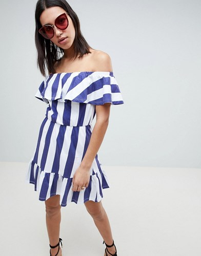 Asos Design Off Shoulder Sundress With Tiered Skirt In Deckchair Stripe Navy White Stripe Multi A6zkp