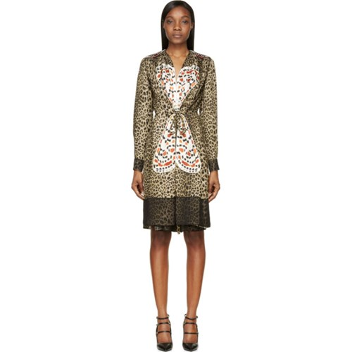Givenchy Leopard Print Silk Butterfly Embroidered Dress WPZE32