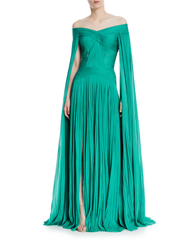 J. Mendel Pleated Chiffon Cape Sleeve Gown Emerald dYT1rTcas7