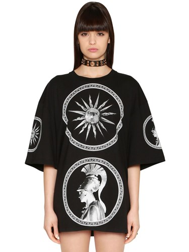 Fausto Puglisi Oversized And Printed Cotton Jersey Dress nstGxREXV