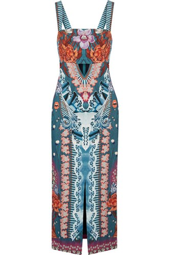 Temperley London Pipe Dream Printed Crepe Midi Dress Blue 6sUVSRuV