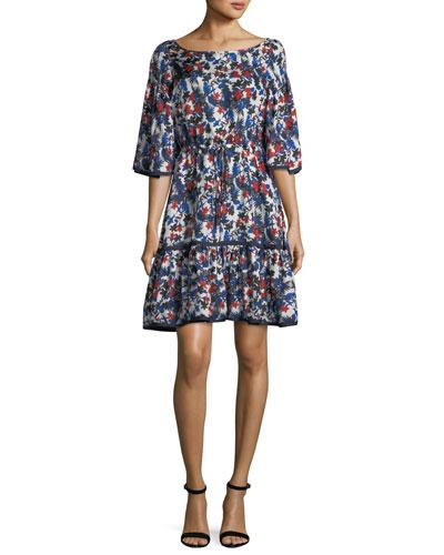 Milly Rose Hibiscus Print Silk Dress Blue Pattern Z5NtHO