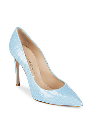 Casadei Funkydrill Slip On Leather Stiletto Pumps Dusk Blue Wh3YUU7