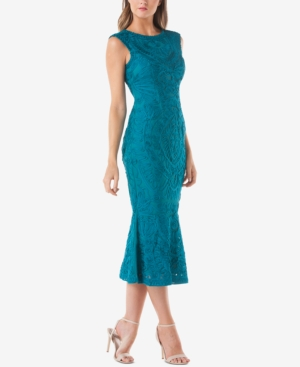 JS Collections Embroidered Soutache Midi Dress Teal UWXQ9