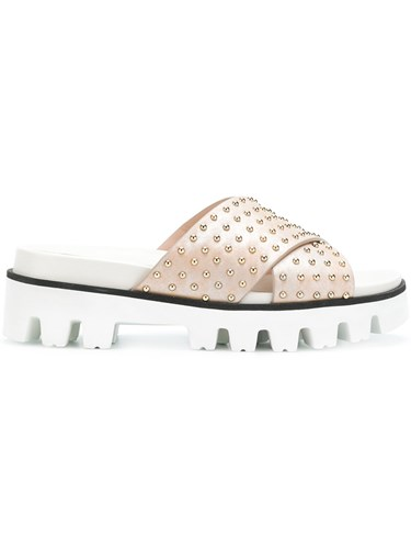 RED Valentino Studded Sliders Nude And Neutrals pvLSdoL0f9
