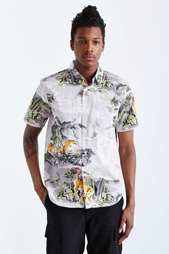 Stussy bamboo tiger button down shirt white nuji for Bamboo button down shirts