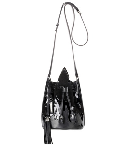 Saint Laurent Leather And Suede Bucket Bag Black 30Haxtcz