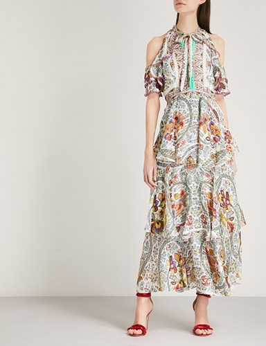 Etro Floral And Paisley Print Cold Shoulder Silk Midi Dress Multi 91kRvI