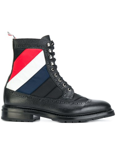 Thom Browne Stripe Detail Boots Calf Leather Leather Rubber Black cWeQf